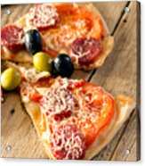Slices Of Homemade Pizza With Salami Acrylic Print
