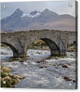 Sligachen Bridge And The Black Cullin, Isle Of Skye Acrylic Print