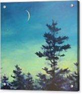 Sliver Moon And Pines Acrylic Print