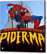 Spider Man Ride Sign.  Acrylic Print