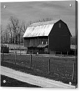 Small And Big Barns Monochrome Acrylic Print