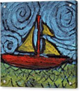 Small Boat With Yellow Sail Acrylic Print