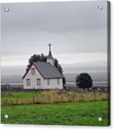 Small Icelandic Church With Gray Roof Acrylic Print