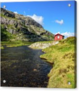 Small Red Cabin In Norway Acrylic Print