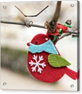 Small Red Handicraft Bird Hanging On A Wire Acrylic Print