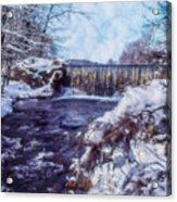 Small Stream, Snowy Scene And Waterfalls. Acrylic Print