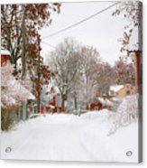 Small Village In Sweden In Lots Of Snow Acrylic Print