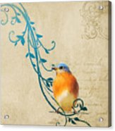 Small Vintage Bluebird With Leaves Acrylic Print