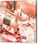 Small Xmas Reindeer On Wood Shavings In Workshop Acrylic Print
