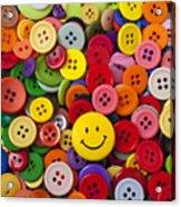 Smiley Face Button Acrylic Print