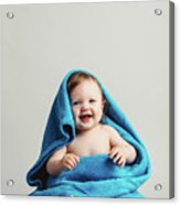 Smiling Baby Tucked In A Warm Blanket Acrylic Print