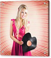 Smiling Dj Woman In Love With Retro Music Acrylic Print
