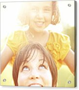 Smiling Mother Holding Daughter Acrylic Print