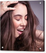 Smiling Young Woman With Long Brown Hair Acrylic Print