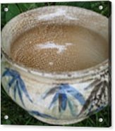 Smoke-fired Bamboo Leaves Bowl Acrylic Print by Julia Van Dine