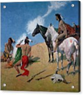 Smoke Signals Acrylic Print by Frederic Remington