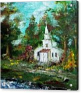 Smokey Mountains Church Acrylic Print