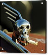 Smoking Skull Hood Ornament Acrylic Print