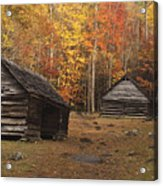 Smoky Mountain Cabins At Autumn Acrylic Print by Andrew Soundarajan