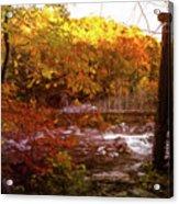 Smoky Mountain Suspension Bridge Oil Painting Acrylic Print