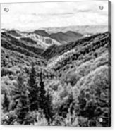 Smoky Mountains In Black And White Acrylic Print