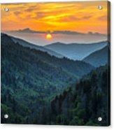 Smoky Mountains Sunset - Great Smoky Mountains Gatlinburg Tn Acrylic Print