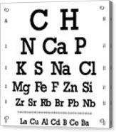 Snellen Chart - Chemical Abundance In Human Body Acrylic Print