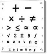 Snellen Chart - Mathematical Symbols Acrylic Print