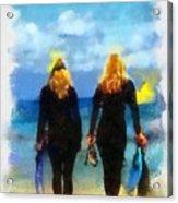 Snorkeler Twins  Acrylic Print