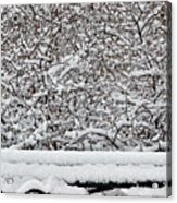 Snow And Bench Acrylic Print
