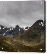 Snow And Fog Over Glengo Mountain In Scotland. Acrylic Print