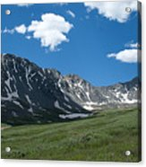 Snow And Mountains And Grass Acrylic Print