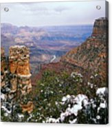 Snow And Pillar - Grand Canyon Acrylic Print