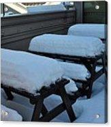 Snow Benches Acrylic Print