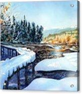 Snow Blanket Over Shoreline Trials Acrylic Print