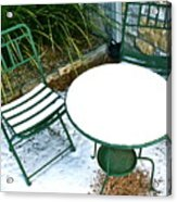 Snow Cafe Acrylic Print by Alison Mae Photography