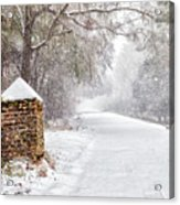 Snow Covered Brick Pillar Acrylic Print