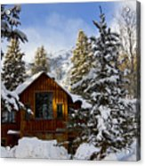 Snow Covered Cabin Acrylic Print