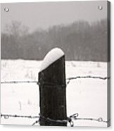 Snow Covered Fence Post Acrylic Print