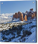 Snow-covered Fins And La Sal Mountains Acrylic Print