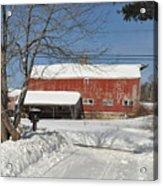Snow Covered Masachussetts Barn Acrylic Print