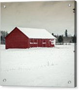 Snow Covered Red Barn Acrylic Print