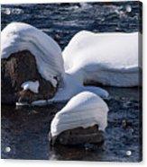 Snow Covered River Rocks Acrylic Print