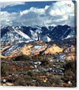 Snow Covered Utah Mountain Range Acrylic Print