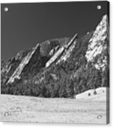 Snow Dusted Flatirons Boulder Co Panorama Bw Acrylic Print