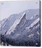 Snow Dusted Flatirons Boulder Colorado Acrylic Print