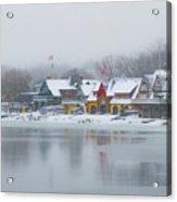 Snow Falling On Boathouse Row Acrylic Print