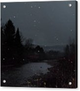 Snow Flakes By Little River Stowe Vermont Acrylic Print