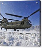 Snow Flies Up As A U.s. Army Ch-47 Acrylic Print