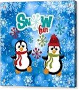 Snow Fun Penguins Acrylic Print